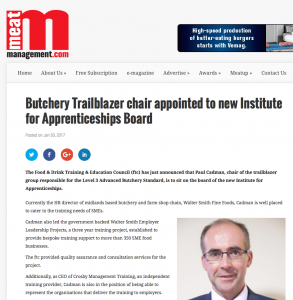 Meat Management Article for Paul Cadmans Appointment to the new IAB