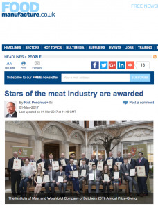 Food Manufacture Press Coverage of IoM Annual Prize-giving Feb 2017