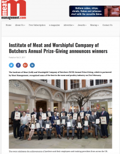Meat Management Press Coverage of IoM Annual Prize-giving Feb 2017